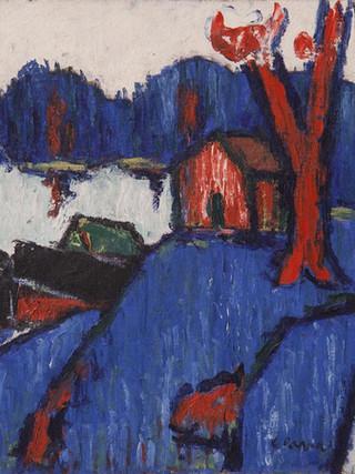 "Ginés Parra (Zurgena, Almería, 1896 – París 1960) ""Paisaje"". 1944. Óleo sobre lienzo, 50x61 cms."
