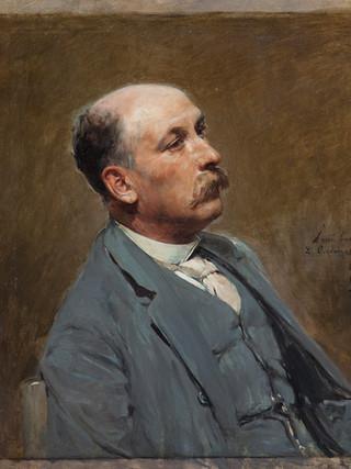 "IGNACIO PINAZO CAMARLENCH (Valencia, 1849 – Godella, 1916). ""Retrato del arquitecto Carmelo Lacal Sorlí"" (1888). Oleo sobre lienzo. 75x75 cms"