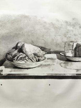"""ANTONIO LÓPEZ GARCÍA (Tomelloso, 1936) """"Bodegón del pollo"""" 1981. Lápiz litográfico sobre piedra, 40x50 cms (huella)"""