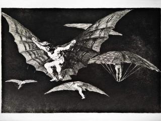 """""""Modo de volar"""". Serie Los Disparates. 1815 - 1823. Primera edición (1864) Aguafuerte. y aguatinta. Huella 21x32 cms."""