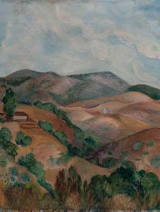 """Marisa Pinazo Mitjans (Madrid, 1912 - 1990) """"Paisaje"""". Hacia 1950  Óleo sobre lienzo. 50x73 cms."""