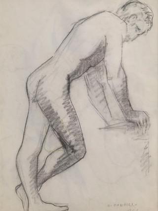 "Antonio Campillo Párraga (Murcia, 1926 – 2009) ""Desnudo masculino de perfil"". 1961. Grafito sobre papel. 43x31 cms."