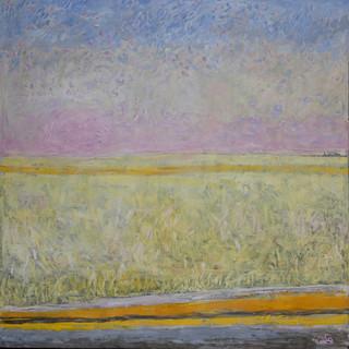 """""""Carretera y campo de trigo"""" 1983. Óleo sobre lienzo 200x200 cms."""