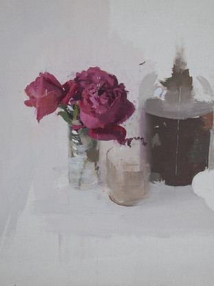 """Antonio López García (Tomelloso, 1936) """"Rosas rojas"""". 2010.  Óleo sobre lienzo, 53 x 49 cms"""