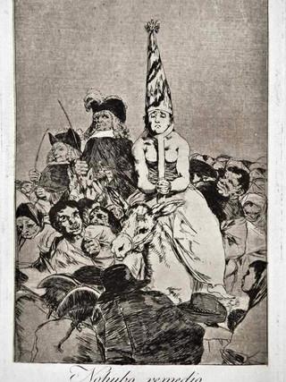 """""""No hubo remedio"""" Grabado 24 de la serie Los Caprichos 1799. Décima edición (1918) Aguafuerte y aguatinta 22 x 15,3 cms. (huella)"""