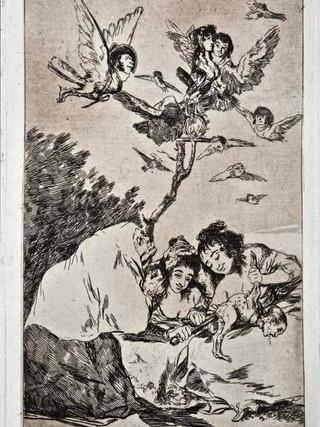 """""""Todos caerán"""" Grabado 19 de la serie Los Caprichos 1799. Décima edición (1918) Aguafuerte y aguatinta 22 x 15,3 cms. (huella)"""