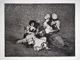 """""""Las mujeres dan valor"""". Grabado 4 de la serie Los desastres de la guerra 1810 - 1815. Primera edición (1863) Aguafuerte. Huella 15x20 cm"""