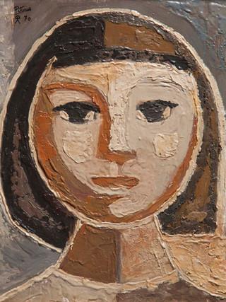 """Francisco García Jiménez """"Pituco"""". (Granada, 1934 - Almería, 1991). """"Cabeza de mujer"""". 1970. Encáustica sobre tabla. 37x30 cms."""