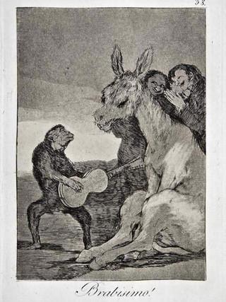 """""""¡Bravísimo!"""" Grabado 38 de la serie Los Caprichos 1799. Décima edición (1918) Aguafuerte y aguatinta 22 x 15,3 cms. (huella)"""