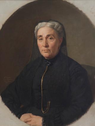 """JOAQUIN ESPALTER Y RULL (Sitges, 1809 – Madrid, 1880). """"Retrato de la señora de Santos Isasu"""" (1869) Óleo sobre lienzo. 73x60 cms"""