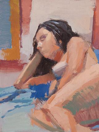 "ANTONIO BARAHONA (Sevilla, 1984)""Desnudo. Apunte"" (2012) Óleo sobre tabla, 21x21 cms."