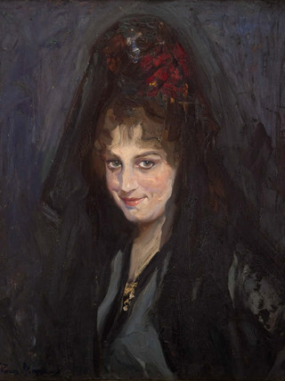 "FRANCISCO PONS ARNAU (Valencia, 1886...1953) ""Mujer con mantilla"" Óleo sobre tela. 61x50 cms."