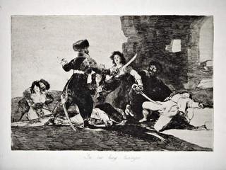 """""""Ya no hay tiempo"""". Grabado 19 de la serie Los desastres de la guerra 1810 - 1815. Primera edición (1863) Aguafuerte. Huella 15x20 cms."""