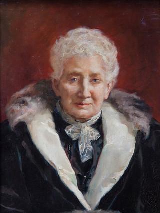 """ALEJANDRO FERRANT Y FISCHERMANS (Madrid, 1843-1917). """"Retrato de anciana"""" . Hacia 1890. Óleo sobre lienzo. 73x49 cms"""