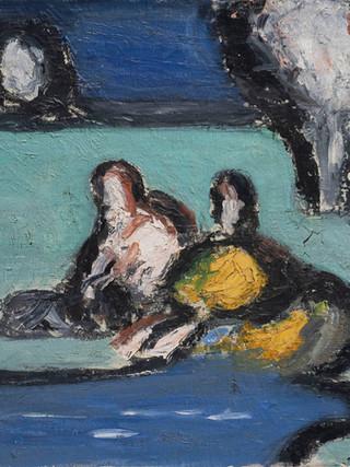 """Ginés Parra (Zurgena, Almería, 1896 – París 1960) """"Lavanderas"""". Hacia 1945. Óleo sobre lienzo, 38x46 cms."""