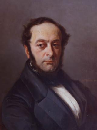 """ANTONIO CABRAL BEJARANO (Sevilla, 1788–1861) """"Retrato de caballero"""" (hacia 1850). Óleo sobre tela."""