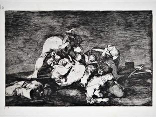 """""""Tampoco"""". Grabado 10 de la serie Los desastres de la guerra 1810 - 1815. Primera edición (1863) Aguafuerte. Huella 15x20 cm"""