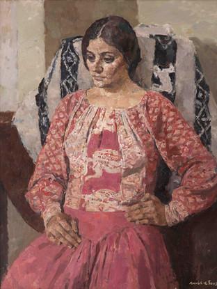 """Josep María Mallol Suazo (Barcelona, 1910 - 1986) """"Mujer sentada"""".Hacia 1970. Oleo sobre lienzo. 92x73 cms."""