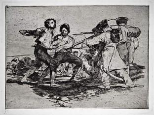 """""""Con razón o sin ella"""". Grabado 2 de la serie Los desastres de la guerra 1810 - 1815. Primera edición (1863) Aguafuerte. Huella 15x20 cm"""