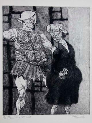 """""""La turista y el centurión"""" 1950. Aguafuerte y aguatinta 37 x 30 cm (huella)"""
