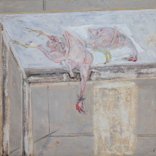 """Pollos sobre mesa de mármol"" 1984. Óleo sobre lienzo 75x100 cms."