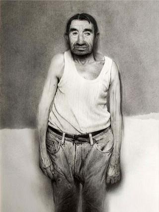 "Golucho (Madrid, 1949) ""Pepet"". 2000. Grafito sobre papel . 152x89 cms."