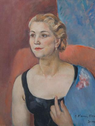 """Joaquim Sunyer i de Miró (Sitges, 1874 - 1956) """"Retrato de la señora de Mombrú"""". 1932. Oleo sobre lienzo. 55x46 cms"""