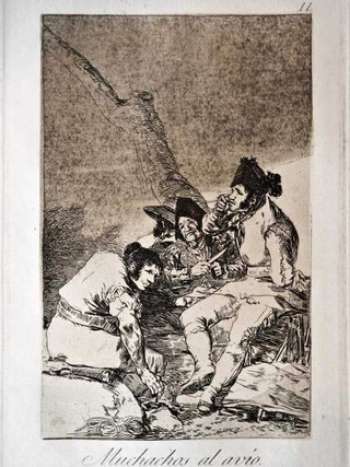 """""""Muchachos al avío"""" Grabado 11 de la serie Los Caprichos 1799. Décima edición (1918) Aguafuerte y aguatinta 22 x 15,3 cms. (huella)"""