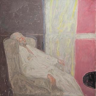 """El enfermo"" 1989. Óleo sobre lienzo 89x89 cms."