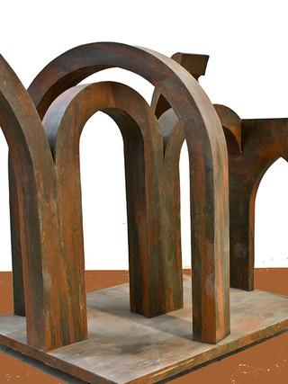 """INDALECIO PÉREZ ENTRENA(Granada, 1961)""""Gótico I"""" (serie Gótico) 2007. 136x150x100 cms. Acero soldado y patinado."""