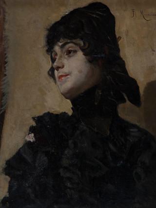 "FRANCISCO MIRALLES GALUP (Valencia,1848 - Barcelona, 1901). ""Joven elegante"" Hacia 1890. Óleo sobre lienzo. 55x46 cms"