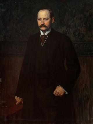 "ANTONIO GISBERT PÉREZ .  (Alcoy, 1834 – París, 1901) ""Retrato de miembro de la familia Stuyck"" (hacia 1890). Óleo sobre tela, 115 x 82 cms."