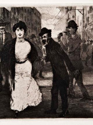 """Ricardo Baroja y Nessi (Minas de Río Tinto, Huelva, 1871 - Vera de Bidasoa, Navarra, 1953) """"Mujer paseando"""" C.1910 Aguafuerte y aguatinta bruñida. 13,5x21,5 cms."""