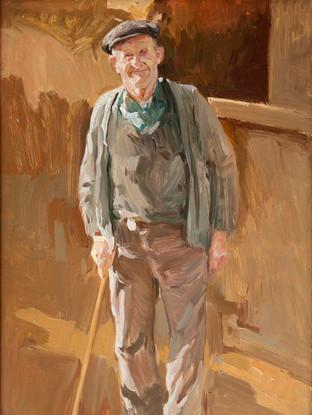 """Jose Antonio Hernández Martín (Ciudad Rodrigo, 1940- Valencia, 2001) """"Anciano al sol"""". Hacia 1980 Oleo sobre lienzo. 40x26 cms."""