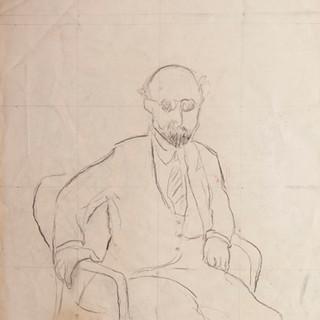 """""""Apunte para retrato de catedrático"""" 1985. Carbón sobre papel 100x70 cms."""