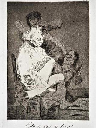 """""""Esto sí que es leer"""" Grabado 29 de la serie Los Caprichos 1799. Décima edición (1918) Aguafuerte y aguatinta 22 x 15,3 cms. (huella)"""
