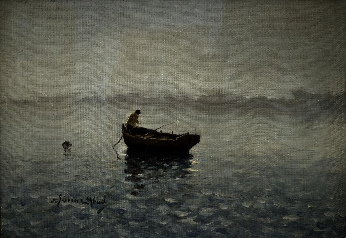 GOMEZ ABAD Figura en barca circa 1945 oleo-tabla