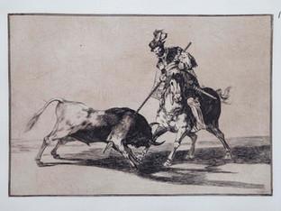 """""""El Cid Ca"""". Serie La Tauromaquia. 1815 - 1816. Tirada de 1983, Calcografía Nacional.  Aguafuerte. y aguatinta. Huella 24x35 cms."""