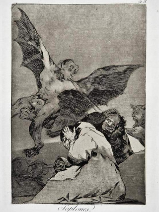 """""""Soplones"""" Grabado 48 de la serie Los Caprichos 1799. Décima edición (1918) Aguafuerte y aguatinta 22 x 15,3 cms. (huella)"""