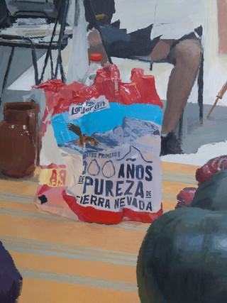 "IGNACIO ESTUDILLO PÉREZ (Jerez de la Frontera,1985)""Bodegón con botellas envasadas"" (2018) Óleo sobre lienzo, 70x55 cms."
