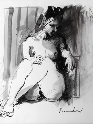 "Carlos Pradal Rodríguez (Madrid 1925, Tolousse 1988) ""Desnudo de mujer"" C. 1970. Tinta sobre papel. 22x15 cms."