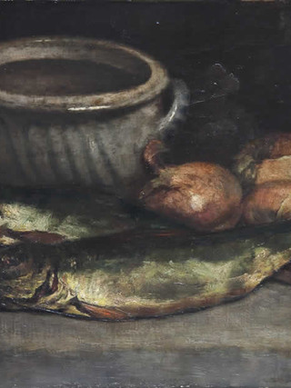 """EDUARDO CHICHARRO AGÜERA (Madrid, 1873 – 1949) """"Bodegón"""". 1942. Óleo sobre tela. 29x37 cms."""