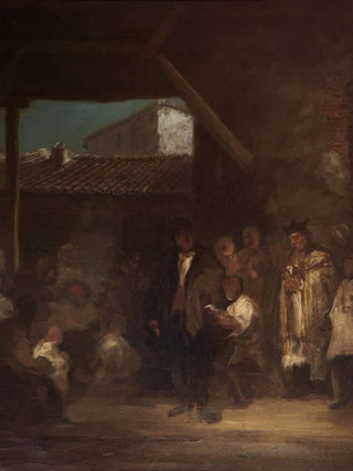 """EUGENIO LUCAS VELÁZQUEZ (Madrid 1817-1870) """"El viático"""" 67x88 cms. Óleo sobre tela."""
