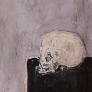 """Cráneo, mesa negra, fondo gris"" 1990. Óleo sobre lienzo 56x43 cms."