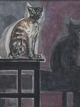 """Francisco Capulino,Capuleto (Almería, 1928-2004) """"Gato"""". 1956. Óleo sobre lienzo, 100x81 cms."""