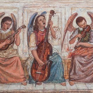 """""""Coro de ángeles"""" 1949. Óleo sobre lienzo 70x100 cms."""