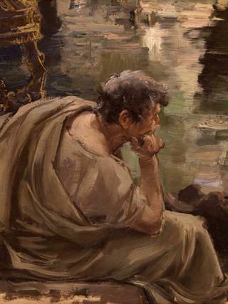 """RICARDO DE VILLODAS Y DE LA TORRE (Madrid, 1846 – Soria, 1904) """"Patricio romano"""" (hacia 1870). Óleo sobre tela, 30x55 cms."""