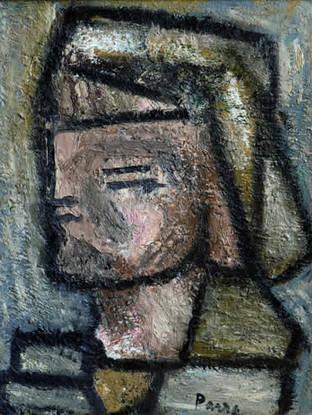 """Ginés Parra (Zurgena, Almería, 1896 – París 1960) """"Cabeza"""". 1944. Óleo sobre tabla. 45x30 cms."""
