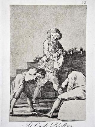 """""""Al conde palatino"""" Grabado 33 de la serie Los Caprichos 1799. Décima edición (1918) Aguafuerte y aguatinta 22 x 15,3 cms. (huella)"""