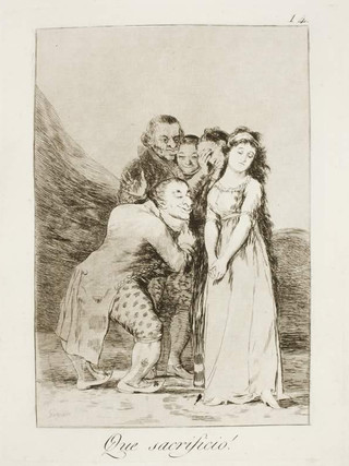 """""""¡Qué sacrificio!"""" Grabado 14 de la serie Los Caprichos 1799. Décima edición (1918) Aguafuerte y aguatinta 22 x 15,3 cms. (huella)"""